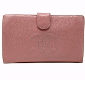 Chanel pink signature CC caviar long french wallet